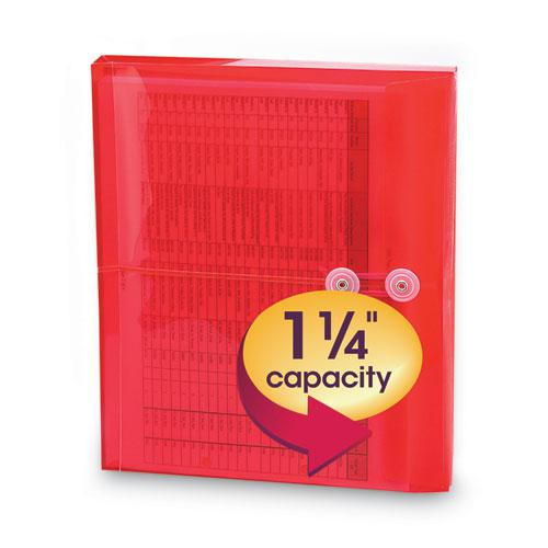 Poly String and Button Interoffice Envelopes, String and Button Closure, 9.75 x 11.63, Transparent Red, 5/Pack. Picture 5