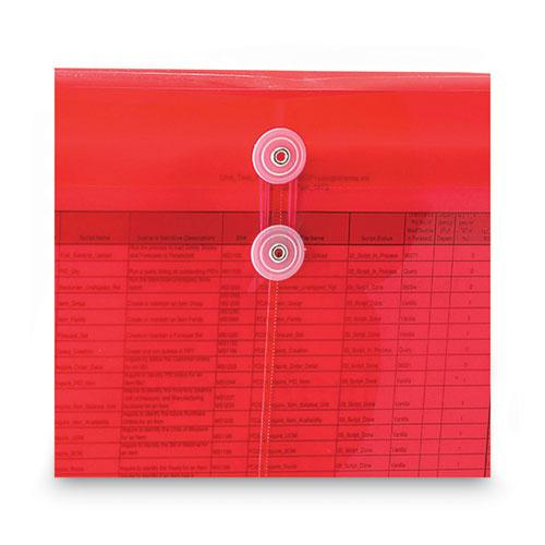 Poly String and Button Interoffice Envelopes, String and Button Closure, 9.75 x 11.63, Transparent Red, 5/Pack. Picture 6