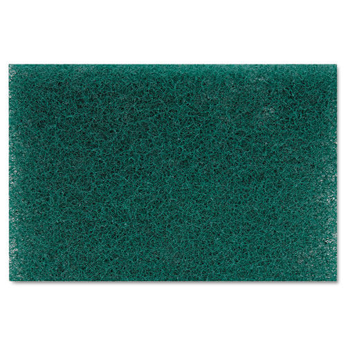 Heavy-Duty Scour Pad, Green, 6 x 9, 15/Carton. Picture 2