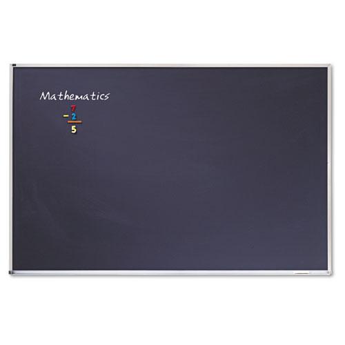 "Porcelain Black Chalkboard w/Aluminum Frame, 72"" x 48"", Silver. Picture 1"