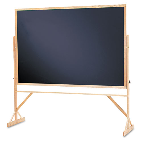 Reversible Chalkboard, 72 x 48, Black Surface, Oak Frame. Picture 1