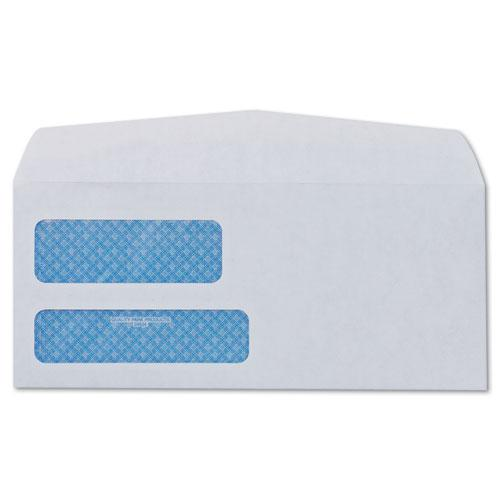 Double Window Security-Tinted Check Envelope, #8 5/8, Commercial Flap, Gummed Closure, 3.63 x 8.63, White, 500/Box. Picture 2