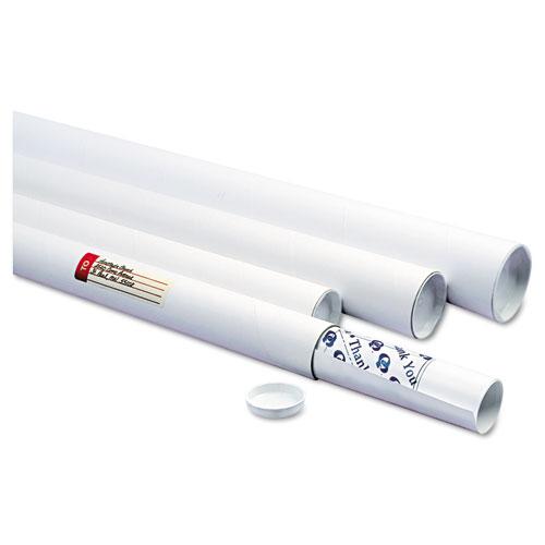 "White Mailing Tubes, 24"" Long, 2"" Diameter, White, 25/Carton. Picture 1"