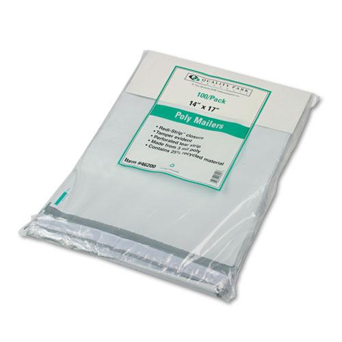 Redi-Strip Poly Mailer, #5 1/2, Square Flap, Redi-Strip Closure, 14 x 17, White, 100/Pack. Picture 1