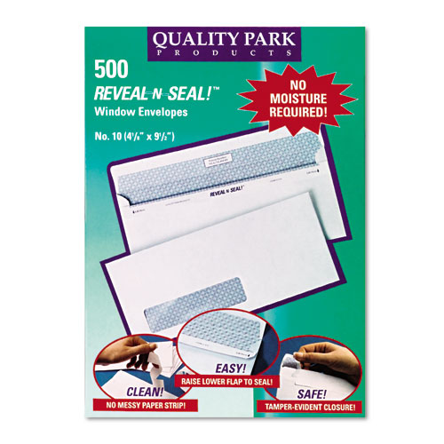 Reveal-N-Seal Envelope, #10, Commercial Flap, Self-Adhesive Closure, 4.13 x 9.5, White, 500/Box. Picture 2