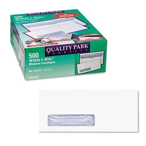 Reveal-N-Seal Envelope, #10, Commercial Flap, Self-Adhesive Closure, 4.13 x 9.5, White, 500/Box. Picture 3