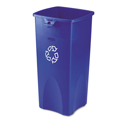 Recycled Untouchable Square Recycling Container, Plastic, 23 gal, Blue. Picture 1