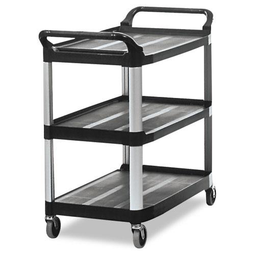 Open Sided Utility Cart, Three-Shelf, 40.63w x 20d x 37.81h, Black. Picture 1