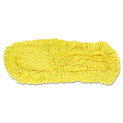 """Trapper Commercial Dust Mop, Looped-end Launderable, 5"""" x 18"""", Yellow. Picture 1"""
