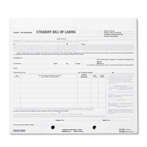 Bill Of Lading Short Form, 7 X 8 1/2, Four Part Carbonless, 250 Forms