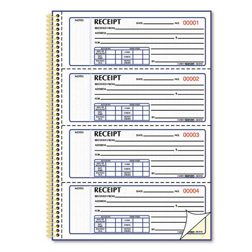 Money Receipt Book, 7 x 2 3/4, Carbonless Duplicate, Twin Wire, 300 Sets/Book. Picture 2