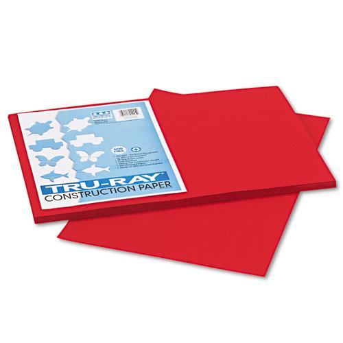 Tru-Ray Construction Paper, 76lb, 12 x 18, Holiday Red, 50/Pack. Picture 1