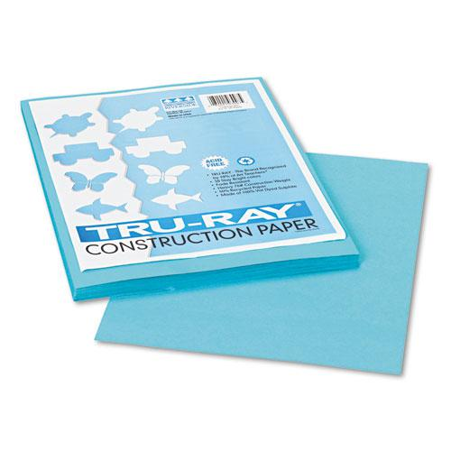 Tru-Ray Construction Paper, 76lb, 9 x 12, Turquoise, 50/Pack. Picture 1