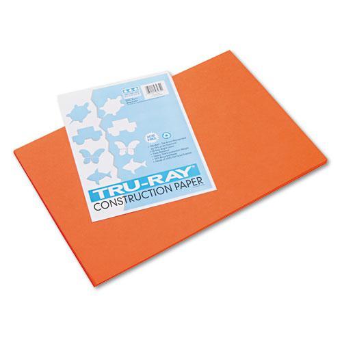 Tru-Ray Construction Paper, 76lb, 12 x 18, Orange, 50/Pack. Picture 1