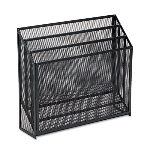 """Mesh Three-Tier Organizer, 3 Sections, Letter Size Files, 12.75"""" x 3.5"""" x 11.5"""", Black. Picture 1"""