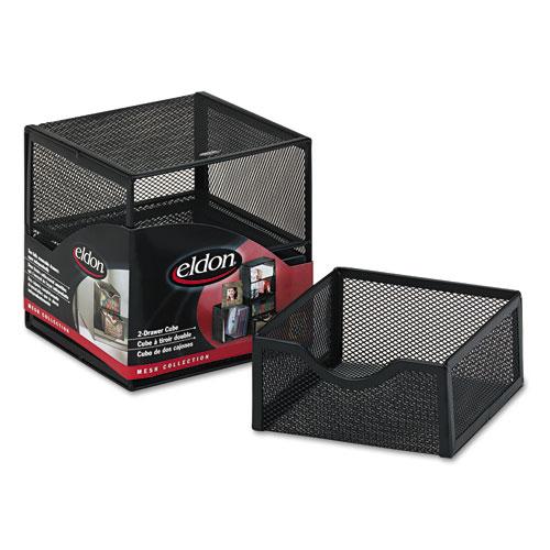 Organization Two-Drawer Cube, Wire Mesh, Storage, 6 x 6 x 6, Black. Picture 1