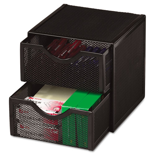 Organization Two-Drawer Cube, Wire Mesh, Storage, 6 x 6 x 6, Black. Picture 2