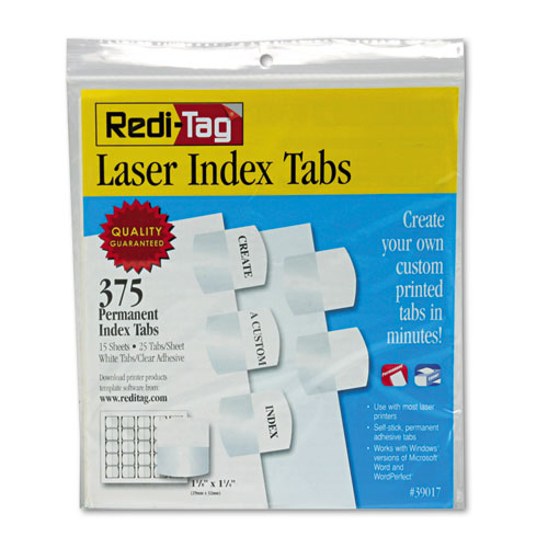 """Laser Printable Index Tabs, 1/5-Cut Tabs, White, 1.13"""" Wide, 375/Pack. Picture 1"""