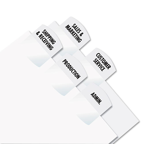 """Laser Printable Index Tabs, 1/5-Cut Tabs, White, 1.13"""" Wide, 375/Pack. Picture 2"""