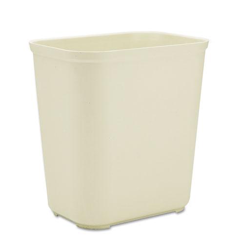 Fire-Resistant Wastebasket, Rectangular, Fiberglass, 7 gal, Beige. Picture 1