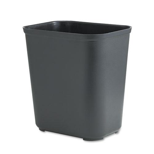 Fire-Resistant Wastebasket, Rectangular, Fiberglass, 7 gal, Black. Picture 1