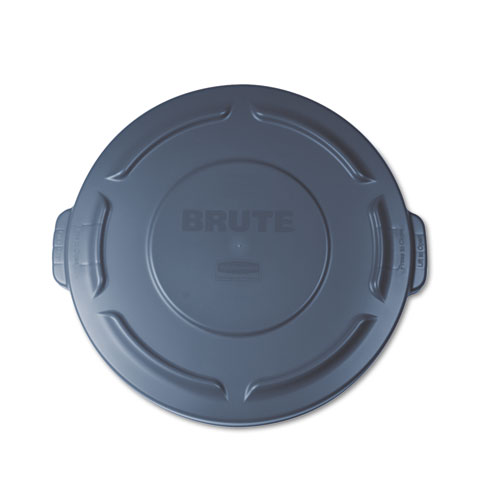 """Flat Top Lid for 20 gal Round BRUTE Containers, 19.88"""" diameter, Gray. Picture 1"""