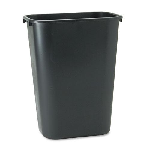 Deskside Plastic Wastebasket, Rectangular, 10.25 gal, Black. Picture 1