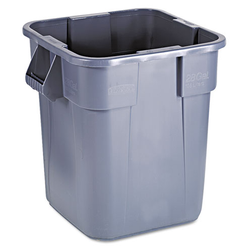 Brute Container, Square, Polyethylene, 28 gal, Gray. Picture 3