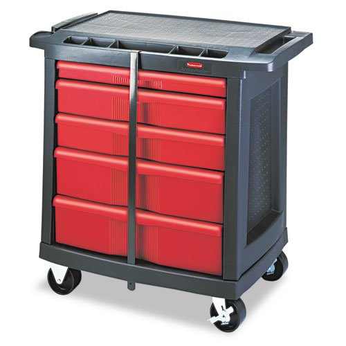 Five-Drawer Mobile Workcenter, 32 1/2w x 20d x 33 1/2h, Black Plastic Top. Picture 2