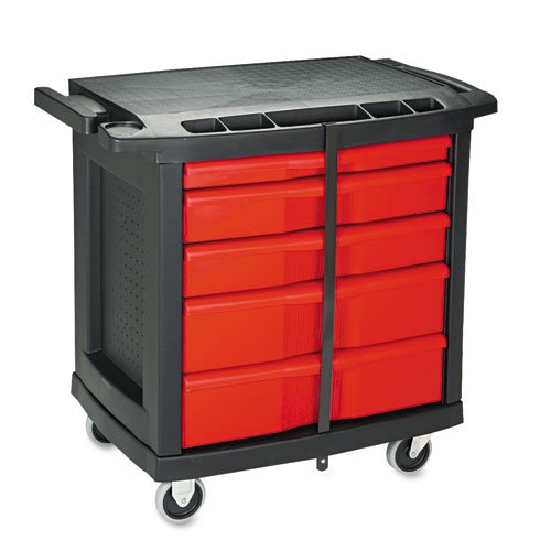 Five-Drawer Mobile Workcenter, 32 1/2w x 20d x 33 1/2h, Black Plastic Top. Picture 3