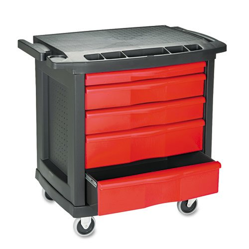 Five-Drawer Mobile Workcenter, 32 1/2w x 20d x 33 1/2h, Black Plastic Top. Picture 1