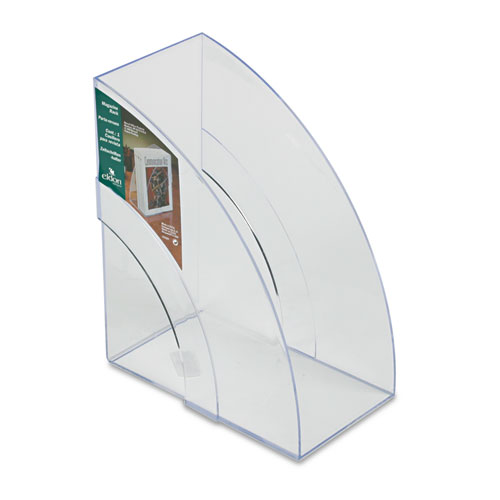Optimizers Deluxe Plastic Magazine Rack, 5 1/4 x 9 x 11 1/8, Clear. Picture 1