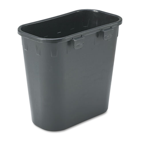 Paper Pitch Recycling Bin, Rectangular, Polyethylene, 1.75 gal, Black. Picture 1