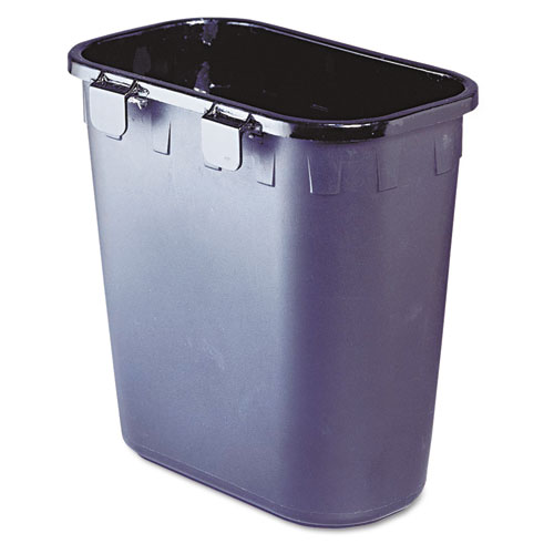 Paper Pitch Recycling Bin, Rectangular, Polyethylene, 1.75 gal, Black. Picture 2