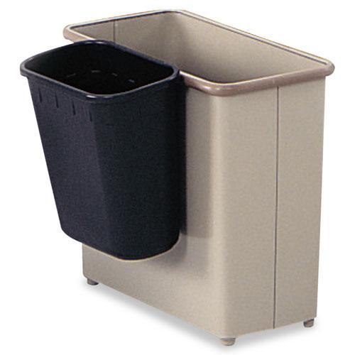Paper Pitch Recycling Bin, Rectangular, Polyethylene, 1.75 gal, Black. Picture 3