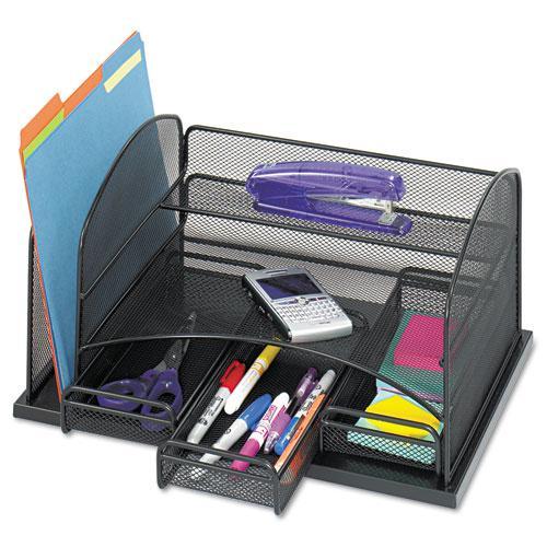 Three Drawer Organizer, Steel, 16 x 11 1/2 x 8 1/4, Black. Picture 1