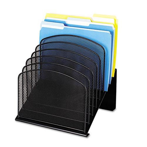 """Onyx Mesh Desk Organizer with Tiered Sections, 8 Sections, Letter to Legal Size Files, 11.75"""" x 10.75"""" x 14"""", Black. Picture 2"""