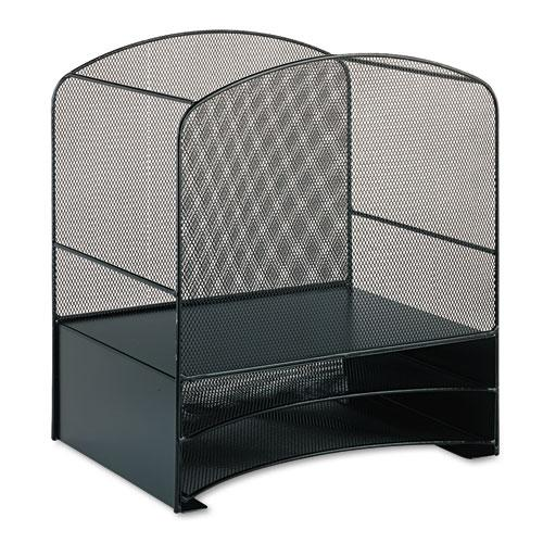 """Onyx Mesh Desktop Hanging File With Two Horizontal Trays, 3 Sections, Letter Size, 10.75"""" Long, Black. Picture 2"""
