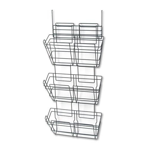 Panelmate Triple-File Basket Organizer, 15 1/2 x 29 1/2, Charcoal Gray. Picture 1