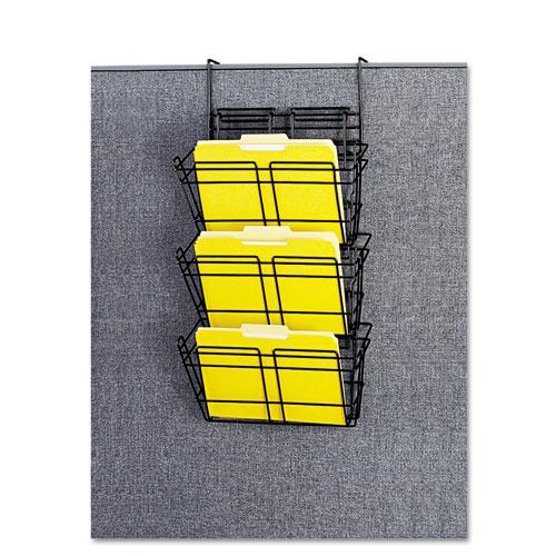 Panelmate Triple-File Basket Organizer, 15 1/2 x 29 1/2, Charcoal Gray. Picture 2