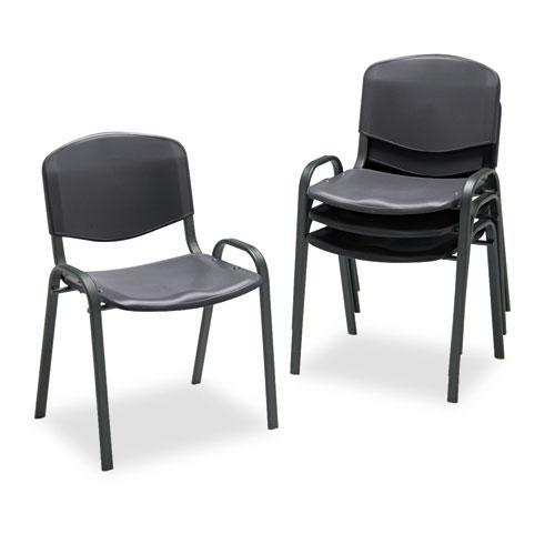 Stacking Chair, Black Seat/Black Back, Black Base, 4/Carton