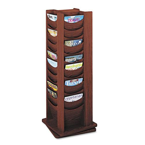 Rotary Display, 48 Compartments, 17.75w x 17.75d x 49.5h, Mahogany. Picture 1