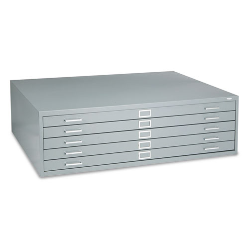 Five-Drawer Steel Flat File, 53-1/2w x 41-1/2d x 16-1/2h, Gray. Picture 1