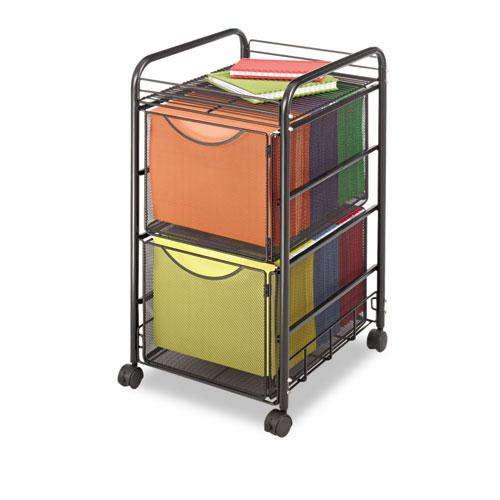 Onyx Mesh Mobile Double File, One-Shelf, 15.75w x 17d x 27h, Black. Picture 1