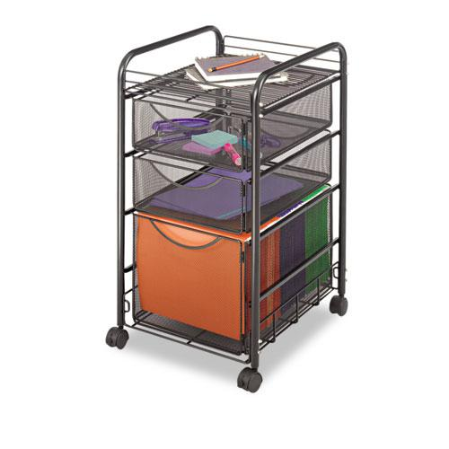 Onyx Mesh Mobile File With Two Supply Drawers, 15.75w x 17d x 27h, Black. Picture 2
