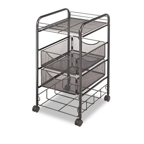 Onyx Mesh Mobile File With Four Supply Drawers, 15.75w x 17d x 27h, Black. Picture 2