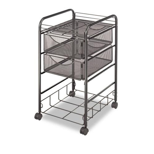 Onyx Mesh Mobile File With Four Supply Drawers, 15.75w x 17d x 27h, Black. Picture 3