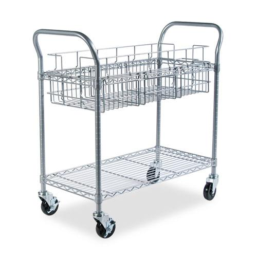 Wire Mail Cart, 600-lb Capacity, 18.75w x 39d x 38.5h, Metallic Gray. Picture 2