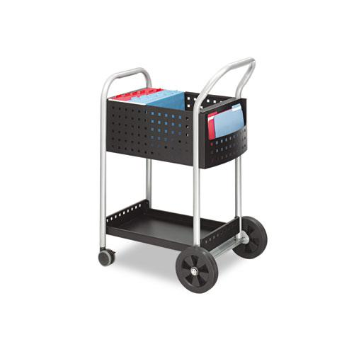 Scoot Mail Cart, One-Shelf, 22w x 27d x 40.5h, Black/Silver. Picture 1