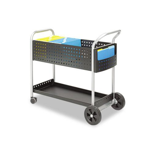 Scoot Mail Cart, One-Shelf, 22.5w x 39.5d x 40.75h, Black/Silver. Picture 1